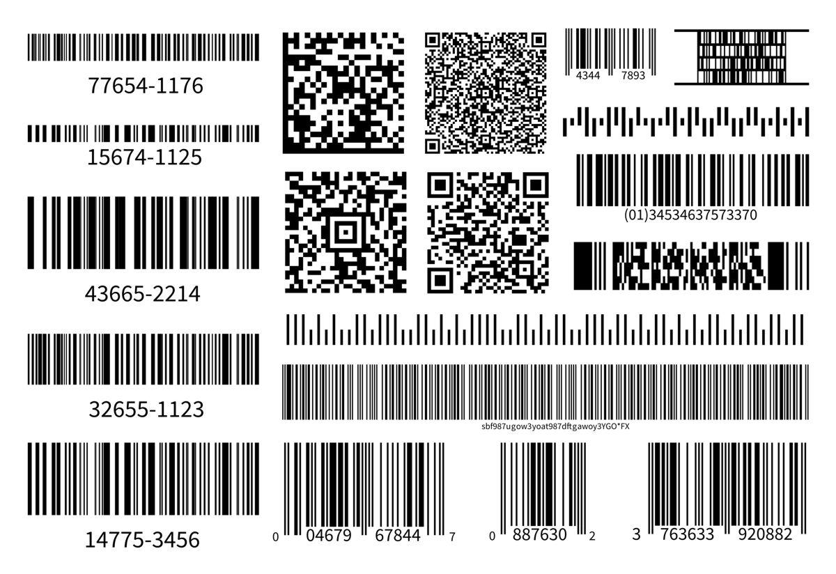 Graficzna prezentacja kodów kreskowych. Różne rodzaje i warianty.