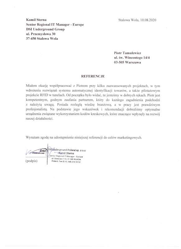 Skan referencji od Senior Regional IT Manager - Europe, DSI Underground Group